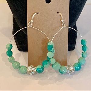 💐5/25 large drop hoop faceted mint greed beads
